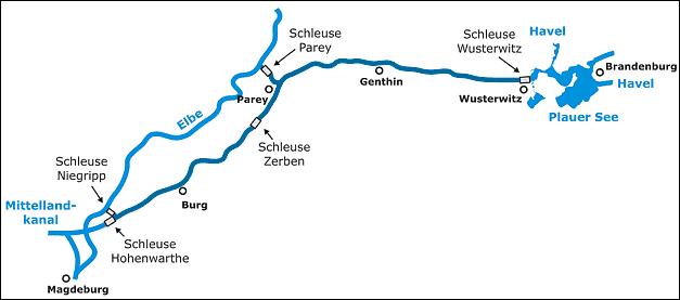 Elbe-Havel-Kanal-Karte, Quelle: wasserstrassenkreuz.de